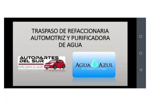 Traspasamos Refaccionaria Automotriz y Purificadora de Agua.