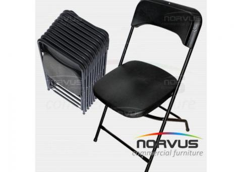 Sillas Plegables Reforzadas de Plastico Negro